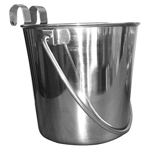 - QT Dog Flat Sided Stainless Steel Bucket with Hooks, 4 Quart