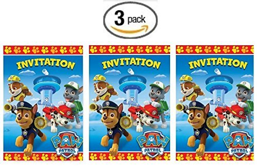 Paw Patrol Party Invites (Paw Patrol 8ct Party Invitations - 3 Pack (Three)