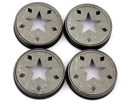 Vintage Pewter Star Cutout Lids for Mason, Ball, Canning Jars (4 Pack, Regular ()