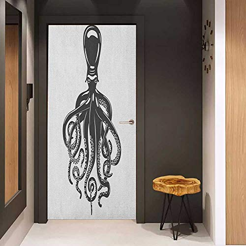 - Onefzc Photo Wall Decal Octopus Animal with Contemporary Design Nautical Aquatic Character Illustration for Home Decor W32 x H80 Charcoal Grey White