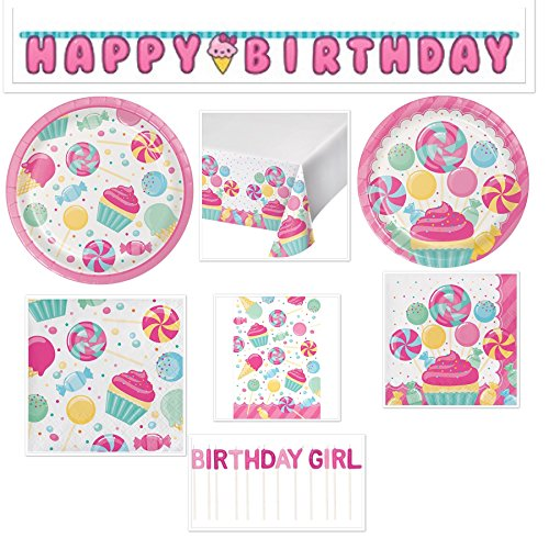 Little Baker Girls Birthday Party Candy Bouquet Bundle Includes: Happy Birthday Banner, Candle, Table Cover, Gift Bags, Dessert Plates, Lunch Plates, Lunch Napkins and Beverage -