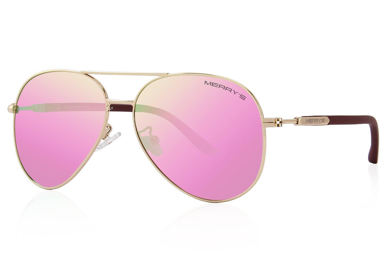 MERRY'S Men's Polarized Driving Sunglasses For Men Women Mirror Sun glasses UV400 S8058 (Pink, 62)