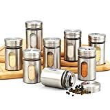 Cook N Home 8-Piece Windowed Spice Bottle Jar Set with Stainless Steel Caps