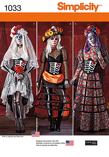 Simplicity Creative Pattern 1033 Misses' Day of the Dead Costumes, Size R5 (14-16-18-20-22)