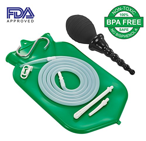 Easy Enema Bag kit - at home silicone FDA approved enema system with bonus enema douche (Green)
