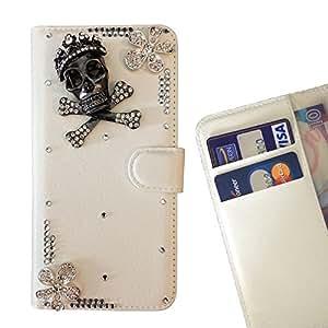 Black Skull Flower Crystal Diamond Waller Leather Case Cover 3D Bling For Microsoft Lumia 650 /- THE- /