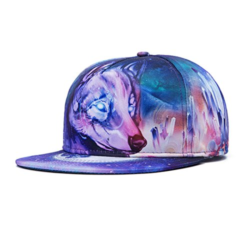 [King Star 3D Printed Solid Brim Hip Hop Adjustable Hat Snapback Baseball Cap Wolf] (Wolf Head Hat)