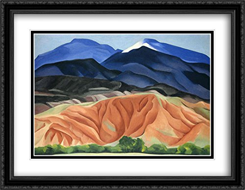 Black Mesa Landscape, New Mexico - Out Back of Mary`s II 2X Matted 36x28 Large Black Ornate Framed Art Print by O'Keeffe, Georgia