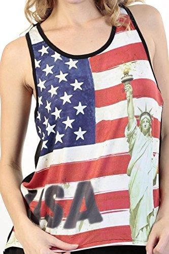 [Women's Juniors American Pride USA Flag Statue of Liberty TANK TOP: BLACK (MEDIUM)] (Confederate Flag Halloween Costume)
