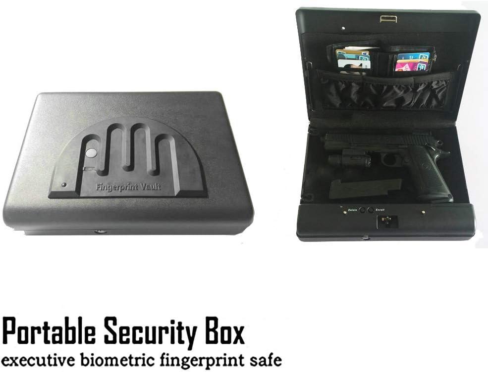 Caja de seguridad portátil de huellas dactilares digitales dinero arma pequeña caja de seguridad laminado en frío de acero coche caja de seguridad los objetos de valor de la joyería dinero storag: