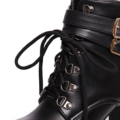 AgooLar Women's High-Heels Soft Material Low top Solid Zipper Boots Black bHdYSmZ39a