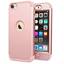iPod Touch 5 Case, iPod 6 Case, Jwest Double Layer Cover [Hard Shield] + [Flexible Silicone] Armor Hybrid Case for Apple iPod 5th Generation / iPod 6th Generation [Impact Shock Resistant] - Rose Gold
