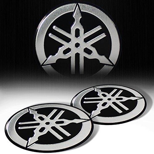 "(Pack of 2) Metal 2.125"" 3D Yamaha Brushed Aluminum Emblem Sticker Logo Fairing / Fender Badge"