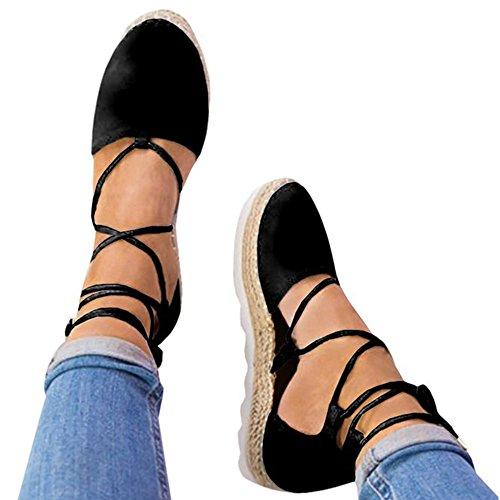 Rainlin Women's Crisscross Lace up Espadrille Platform Sandals Cut Out Ankle Wrap Flat Shoes Size 8 (Strappy Ankle Wrap Platform Sandal)