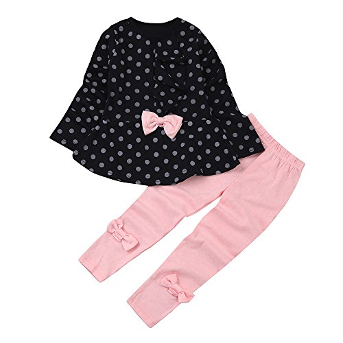Price comparison product image LIKESIDE Toddler Infant Baby Girls Dots Print Clothes Bow Top T-Shirt +Pants Outfits Set
