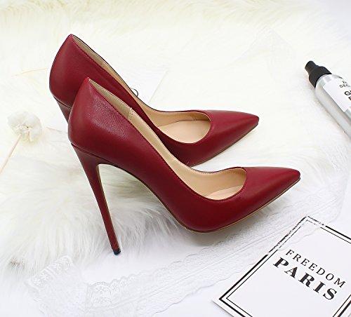 Guoar Femmes Stiletto Grande Taille Chaussures Bout Pointu Brevets Dames Solides Pompes Pour Lieu De Travail Robe Partie B-vin Rouge