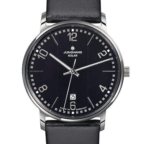 Junghans 014/4062 - Reloj analógico de cuarzo para hombre con correa de piel, color negro: Amazon.es: Relojes