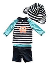 eKooBee Baby Boys Rash Guard Swimsuit Striped Swimwear Shirt+Bottom Set