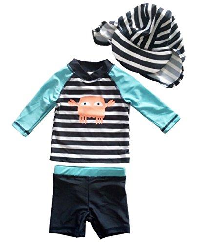 (eKooBee Baby Little Boys Rash Guard Set Swimwear Long Sleeve Swimsuit UP50+ (Aqua Striple, 6-9Month))