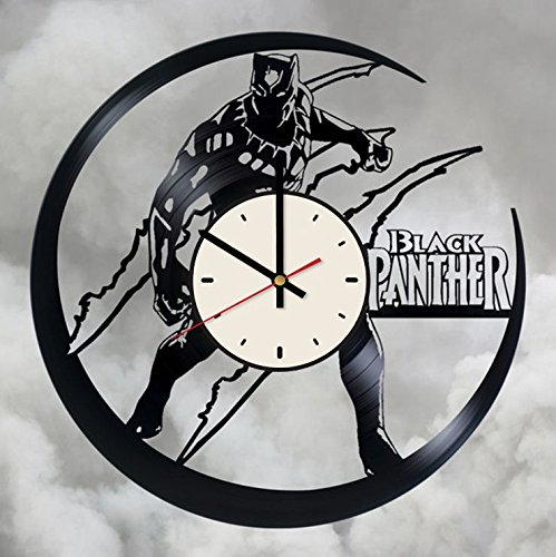 (Black Panther Vinyl Wall Clock Superhero Unique Gifts Living Room Home)
