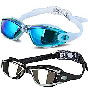 ALLPAIPAI Swim Goggles – Swimming Goggles,Pack of 2 Professional Anti Fog No Leaking UV Protection Wide View Swim…