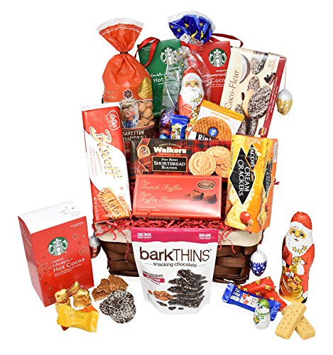 Christmas Gift Holiday Premium Basket - Snacks, Chocolates, Starbucks Hot Cocoa, Truffles, Premium Gift Basket for Family, Friends, Women, Men, College Students, Colleagues, Him, Her ()