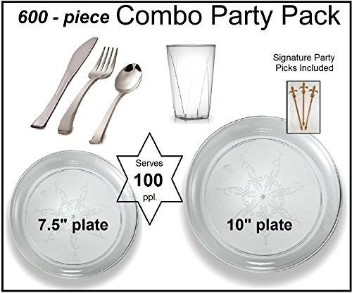 Party Combo Pack-600 Pieces, Premium Plastic CLEAR Plates, Silver Cutlery, Clear Tumblers w/Bonus FDL Picks - SERVES 100 ()