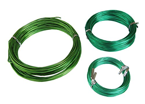 (150Feet Anodized Aluminum Bonsai Training Wire 3-Size Starter Set, Multipurpose Crafting DIY Wires Ties - 1.0mm, 1.5mm, 2.0mm(Each 50Ft), Easy Bending Cutting, Quality Alu Tie Wire 3 Size Pack (Green))