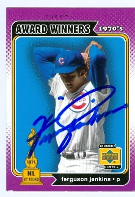 Baseball Autographed Cubs Chicago Jenkins (Autograph Warehouse 25142 Ferguson Jenkins Autographed Baseball Card Chicago Cubs 2001 Upper Deck Decade Legends Award Winners 1971 Cy Young)
