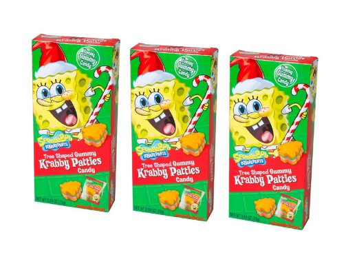 CHRISTMAS Tree Shaped Gummy Krabby Patties Candy Spongebob Squarepants Pack of 3 Boxes]()