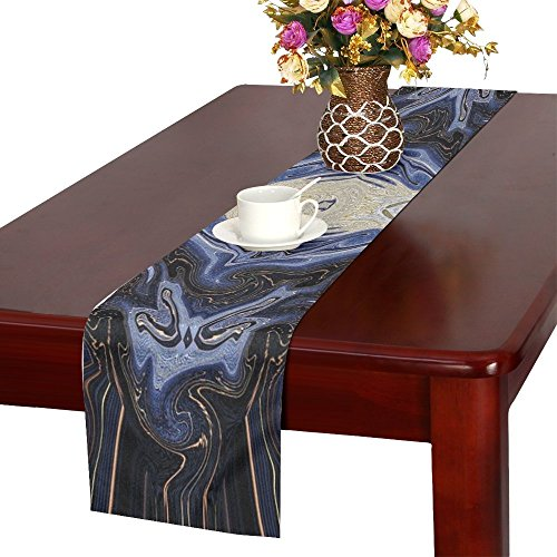 QYUESHANG Purple Symmetric Design Symmetry Reflection Table Runner, Kitchen Dining Table Runner 16 X 72 Inch For Dinner Parties, Events, Decor