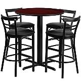 "Flash Furniture 24"" Round Mahogany Laminate Table Set with 4 Ladder Back Metal Barstools – Black Vinyl Seat Review"