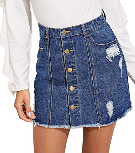 - Verdusa Women's Button Up Ripped Denim Short Skirt Blue XL