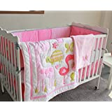 Pink flamingo 8pcs crib set Baby Bedding Set Crib Bedding Set Girl Boy Nursery Crib Bumper bedding with blanket
