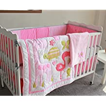 Pink flamingo 8pcs crib set Baby Bedding Set Crib Bedding Set Girl Boy Nursery Crib Bumper bedding with blanket