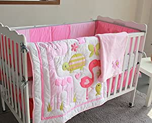 Amazon Com Pink Flamingo 8pcs Crib Set Baby Bedding Set