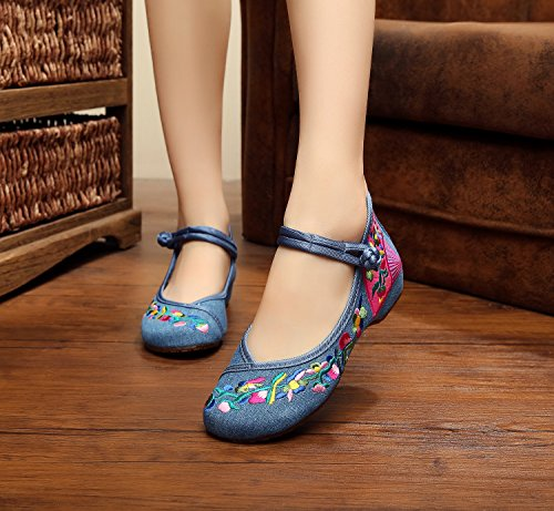 bordados aumento ¨¦tnico de GuiXinWeiHeng xiuhuaxie tend¨®n zapatos estilo casual blue lenguado femenina Zapatos tela del del dentro c¨®modo denim moda qxFE0wFTz