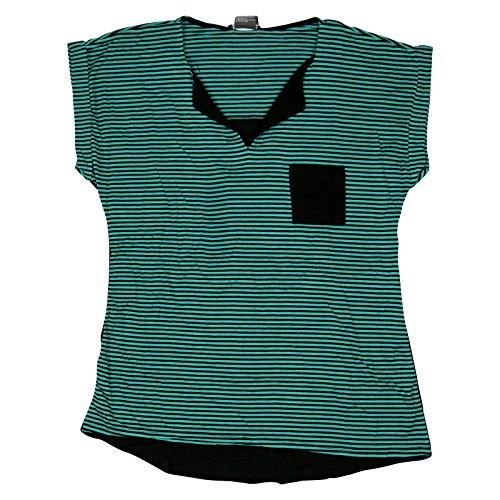 Chelsea & Theodore Womens Pocket Stripe T-Shirt Top Medium Turquoise Haze/Black ()