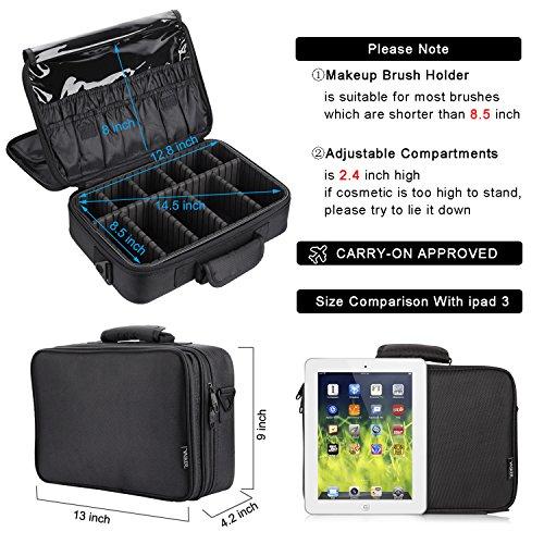 VASKER Makeup Case Portable Train Organizer Brush Holder Divider Black