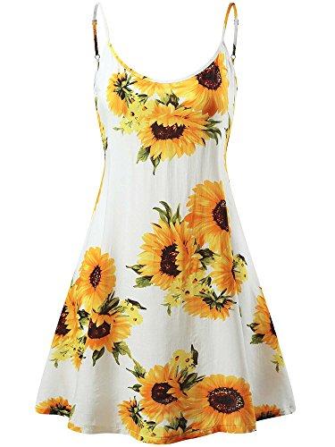 MSBASIC Flowered Dress, Strappy Junior Summer Dresses Sunflower 2 S
