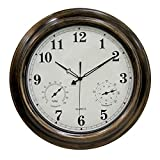 XSHION 18 Inch Wall Clock,Waterproof Outdoor Clock with Thermometer and Hygrometer,Non-Ticking Silent Clock