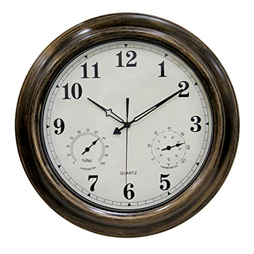 XSHION 18 Inch Wall Clock,Waterproof Outdoor Clock with Thermometer and Hygrometer,Non-Ticking Silent Clock by XSHION (Image #6)
