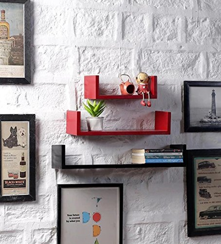 Onlineshoppee MDF Handicraft Wall Decor U Shaped Designer Wall Shelf