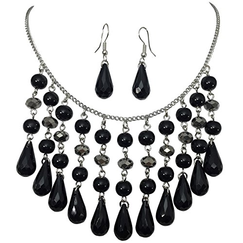Cascading Black & Grey Beaded Silver Tone Statement Necklace & Earrings ()