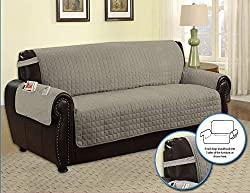 Quilted Microfiber Pet Dog Couch Furniture Protector With Side Pocket, Tucks & Strap