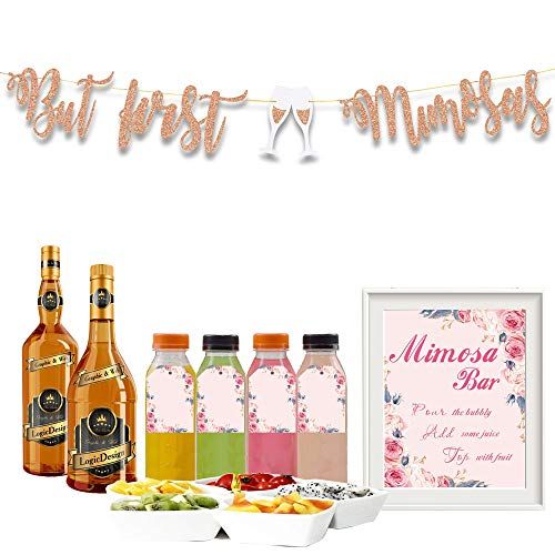 Embroidery Sign - Fengsheng Embroidery Mimosa Bar Sign Supplies Rose Gold Glitter But First Mimosas Banner Juice Tags Kit Floral Decorations Bridal Shower Decorations Baby Shower Wedding Engagement Birthday Party Decor