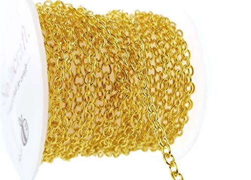 Gold Tone Cable Link Chain Spool for Jewelry Making, Crafts (3 x 4mm) 3mm