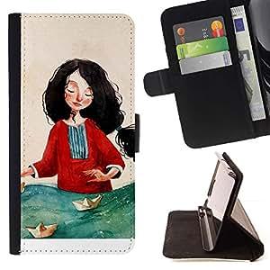 Momo Phone Case / Flip Funda de Cuero Case Cover - Pintura Mujer Arte Mar Rojo - Samsung Galaxy S6 Edge Plus / S6 Edge+ G928