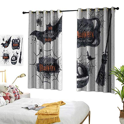 Warm Family Bedroom Curtains Vintage Halloween,Halloween Symbols Happy Holiday Witch Lives Here Broomstick Spider Web,Black White 63