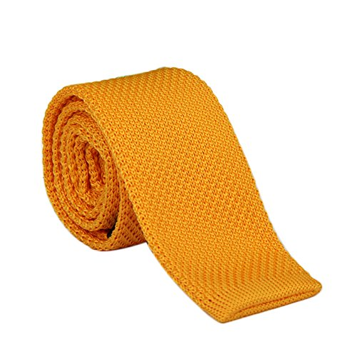 Men's 2'' Vintage Casual Formal Skinny Knit Tie Knitting Necktie (Golden Yellow)